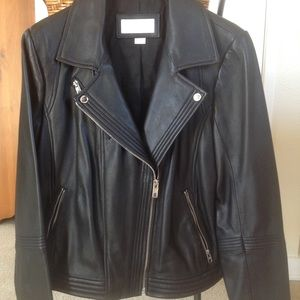 Michael Kors black leather motorcycle jacket NWT